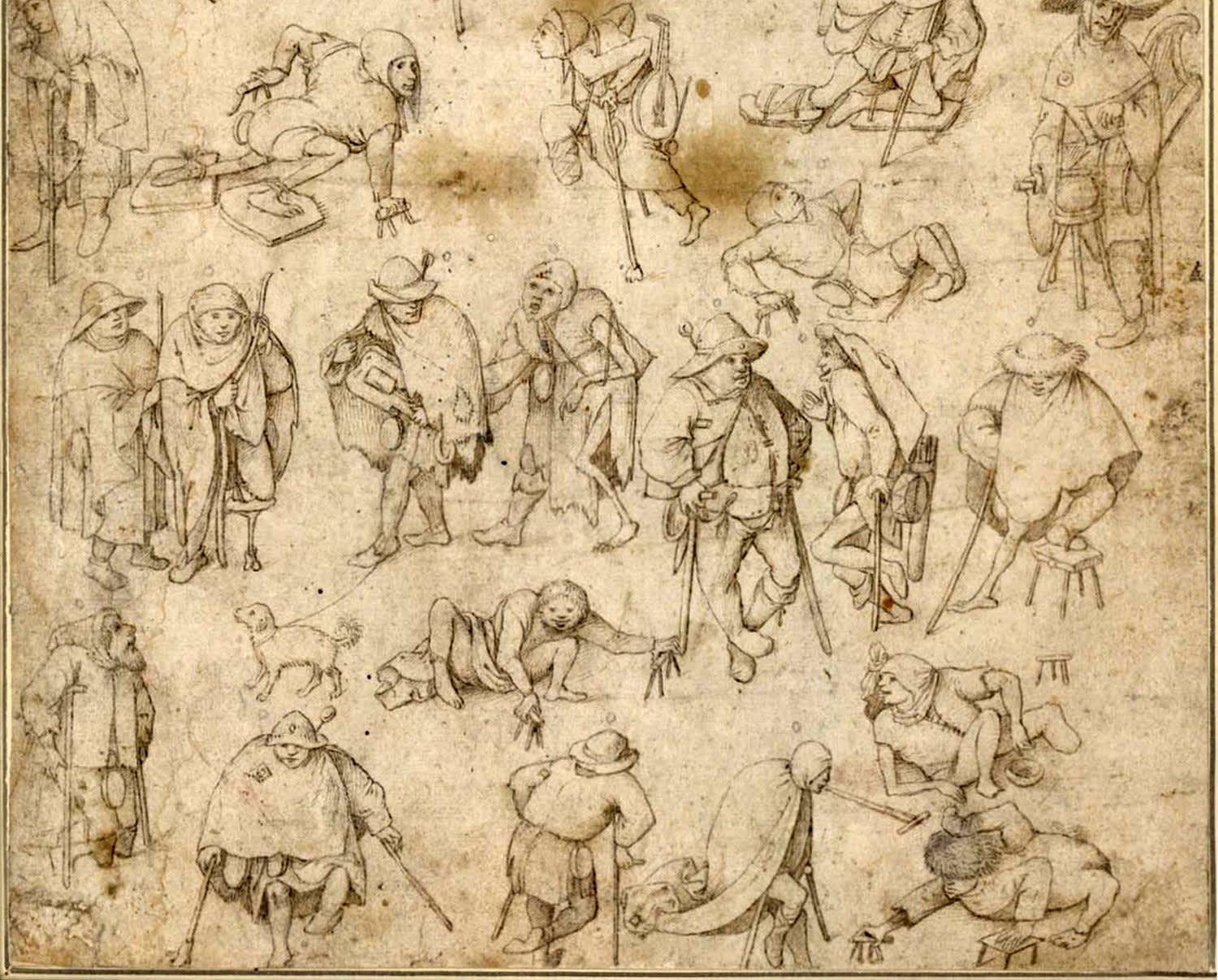 This image is showing Beggars and Cripples drawing by Hieronymus Bosch