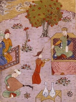 This is an image showing a Persian miniature of Guyuk khan by Abdullâh Sultân