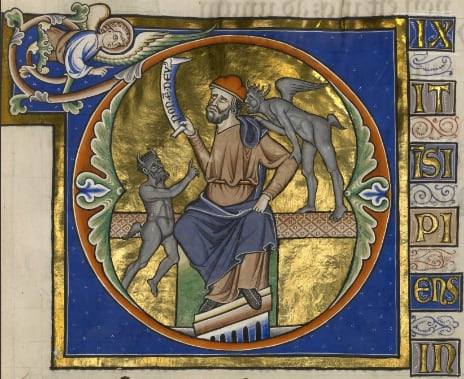 Picture showing an enthroned man wearing a fool's cap illustrates the opening verse of Psalm 52.