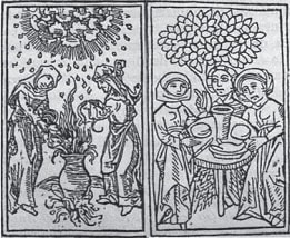 Picture showing Witches' activities.From Ulrich Molitor, De laniis et phitonicis mulieribus, 1489
