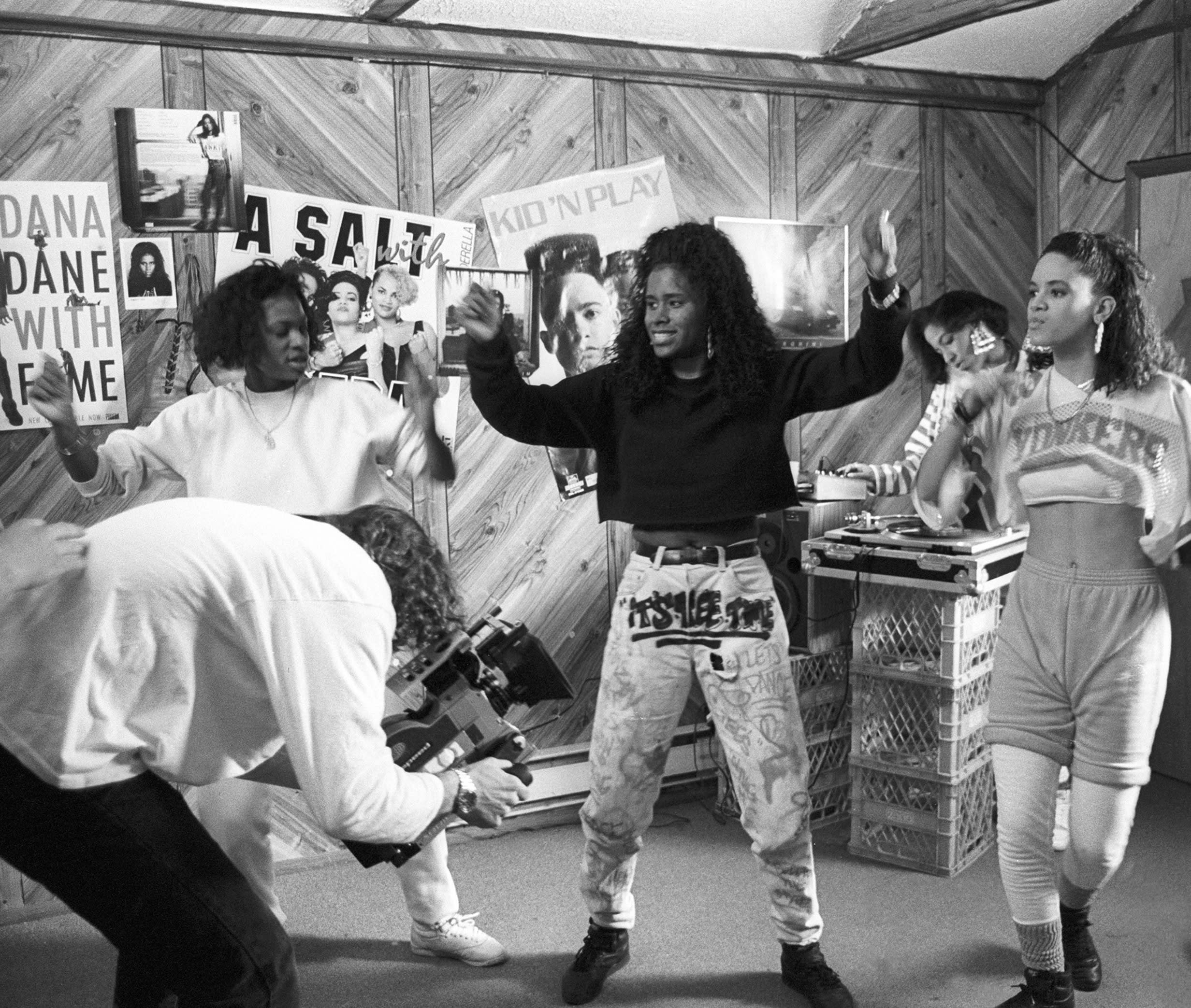 Rapper Sweet Tee (Toi Jackson) during the filming of the 'On The Smooth Tip' music video taken in East Elmhurst, New York, 1988.