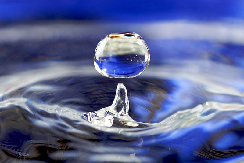 A water drop (Wikimedia Commons)