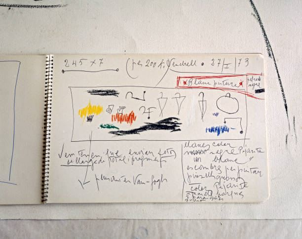 Close-up of artist Joan Miro's sketchbook at the Fundacio Miro Mallorca museum, Palma de Mallorca, Spain, 1987
