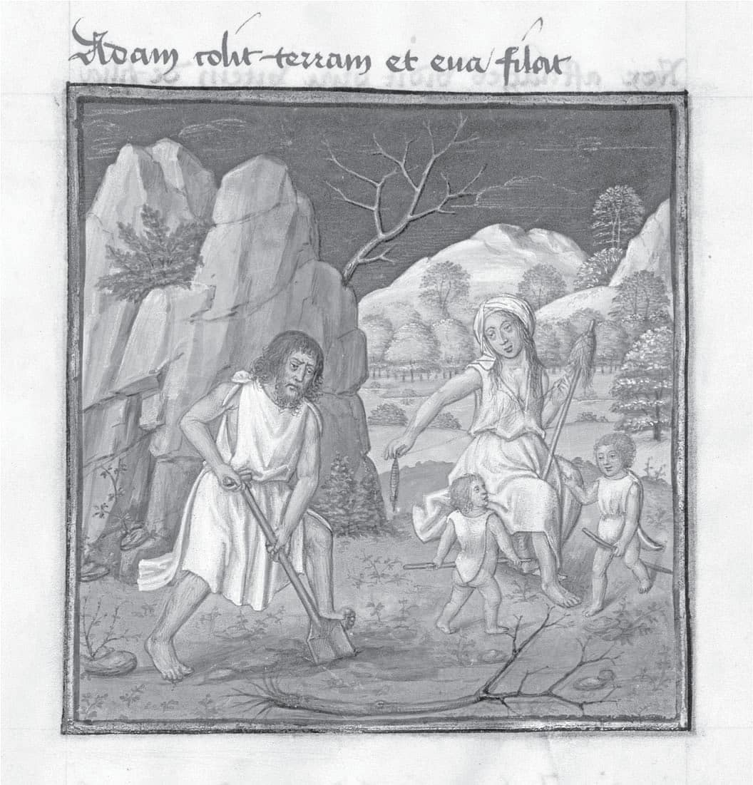 Figure 6.3 The Labors of Adam and Eve. Mirror of Human Salvation.  Chantilly, Musée Condé, MS 139, fol. 4 recto. France, fifteenth century.
