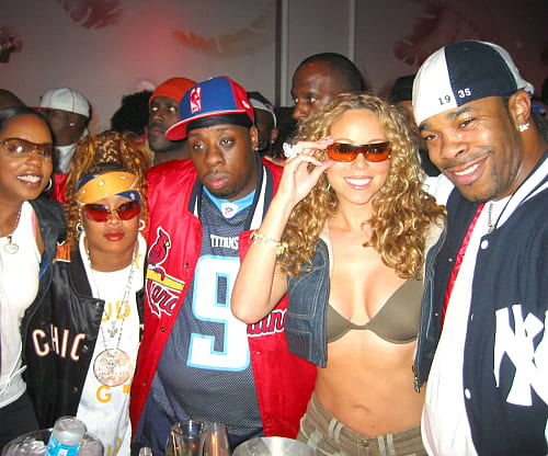 Rah Digga, Da Brat, Rampage, Mariah Carey and Busta Rhymes photographed together at a party in 2003 (Photo by Djamilla Rosa Cochran/WireImage)