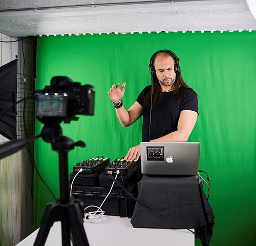 The Minitech Project recording a DJ set in a studio to be broadcast on social media on October 11, 2020 in Amsterdam, Netherlands (Photo by Pierre Crom/Getty Images)