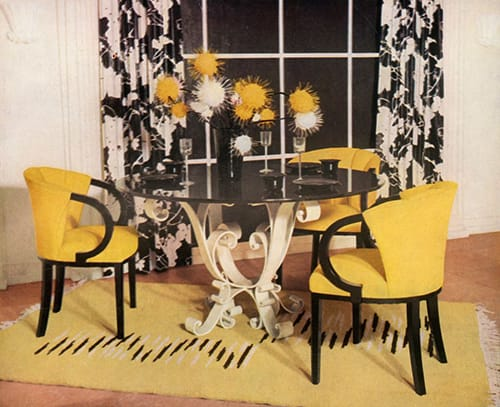 Dining-room group in yellow, black and white, designed by Hayes Marshall for Fortnum & Mason Ltd., London', 1937