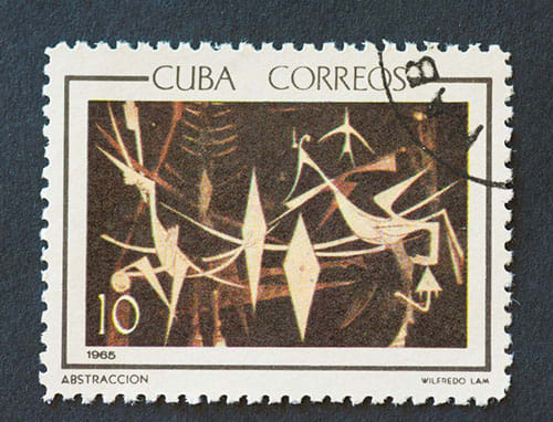 Cuban 1965 stamp depicting abstract painting titled 'Abstraccion' by Wifredo Lam