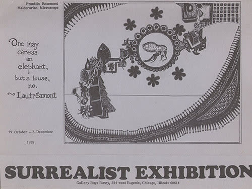 1968 Poster for the First exhibition by the surrealist group in Chicago. Image by Franklin Rosemont © estate of Franklin Rosemont.