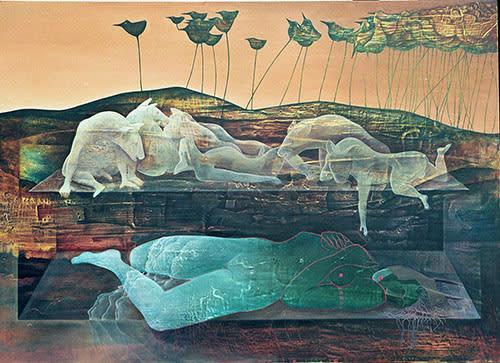 Kathleen Fox Living the Dreaming (1997). Oil on board  89 X 122cm