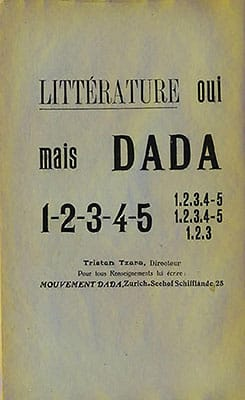 1919 Advertising note in Litterature announcing publication of Tzara's Dada journal in Zurich.