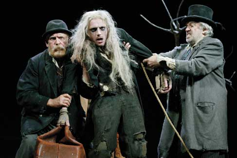 Waiting for Godot by Samuel Beckett: Estragon (Alan Dobie), Lucky (Richard Dormer) and Vladimir (James Laurenson). Theatre Royal Bath, 2005.