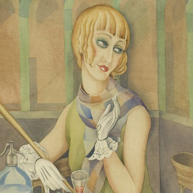 This watercolor depicts the artist Lili Elbe, born Einar Wegener.