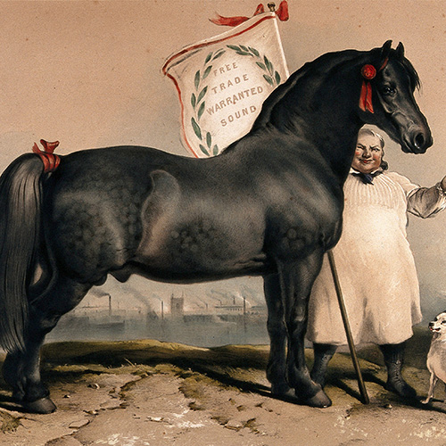 This image shows a healthy horse, representing the healthy effects of free trade.