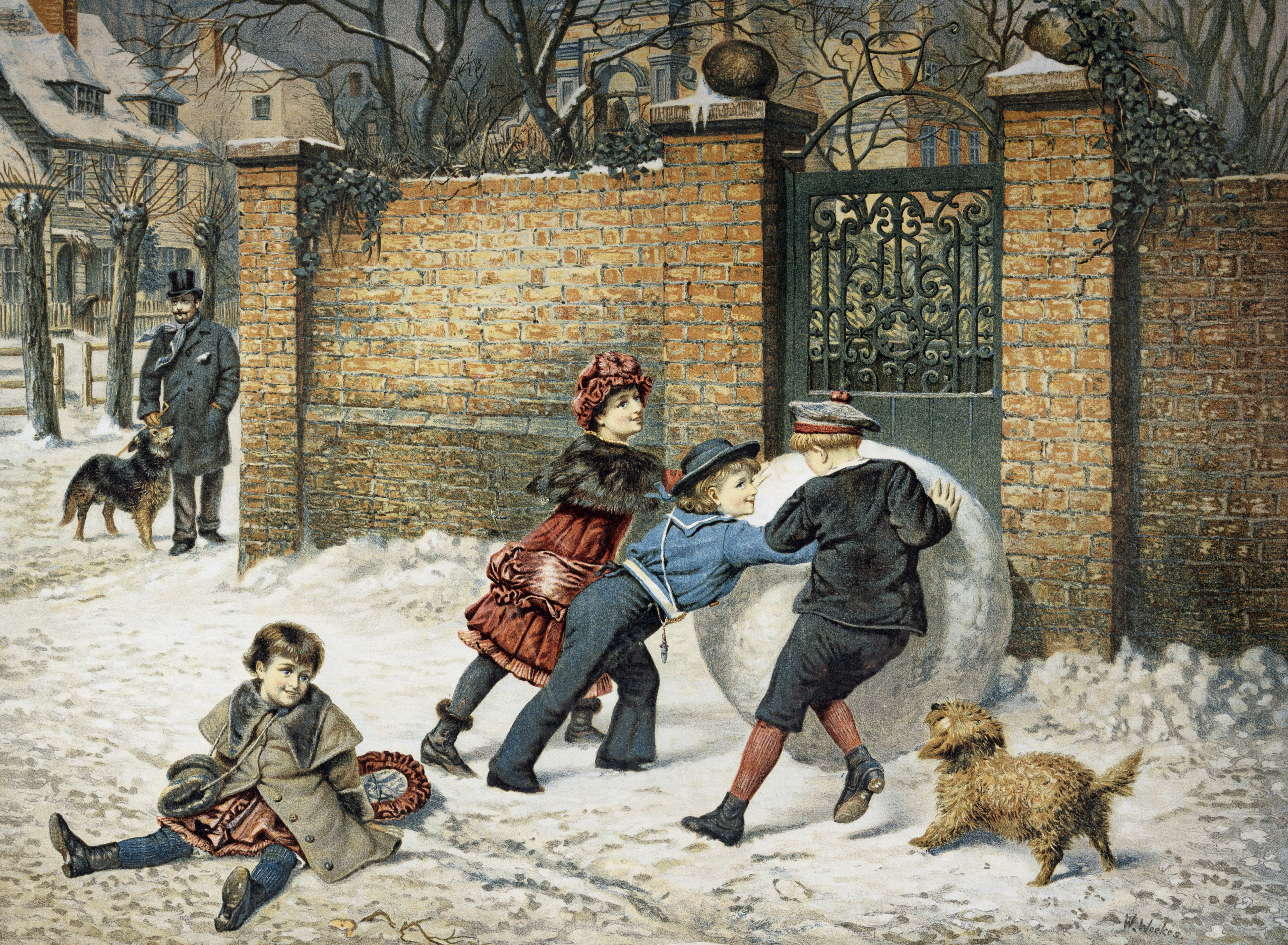 A painting sshowing children playing with a giant snowball.