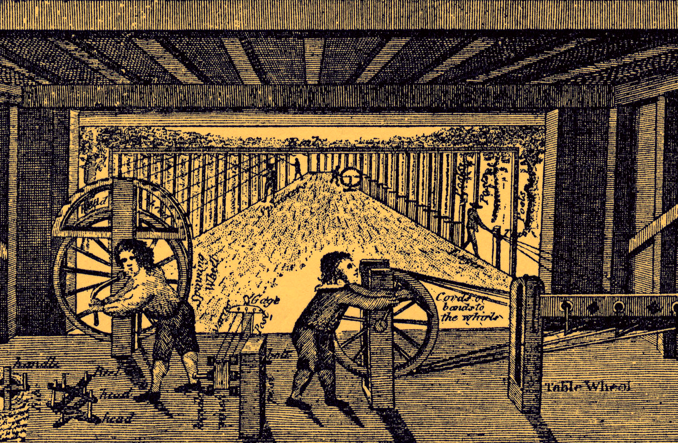 An image of an engraving showing Children working in a rope factory