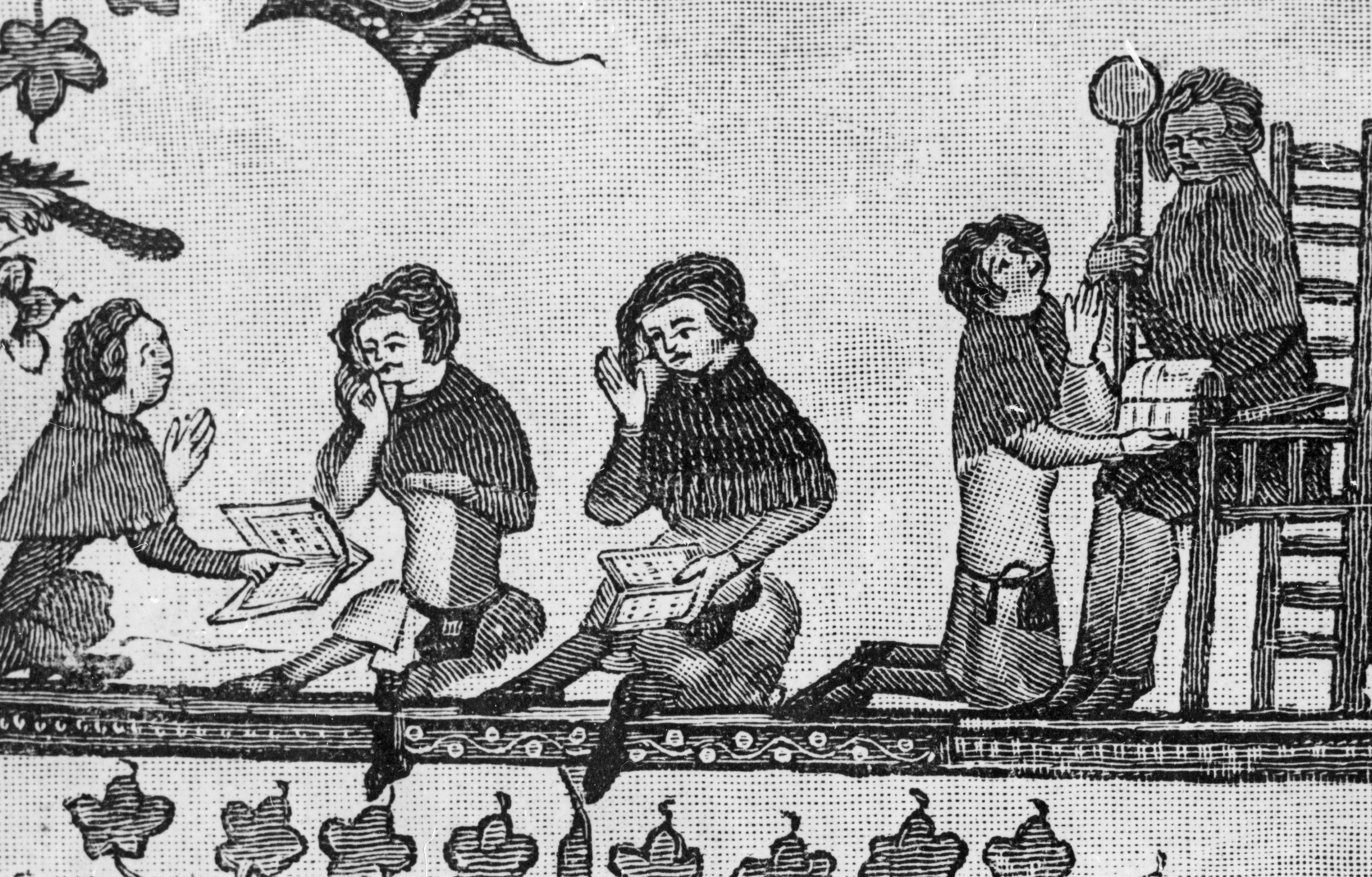 An image showing schoolchildren at their books, UK, AD 1338-1344.