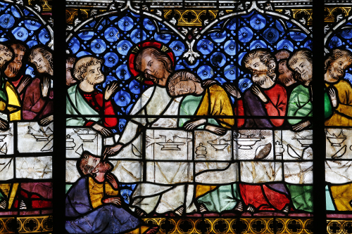 Our Lady of Strasbourg Cathedral. Stained glass window 14th century. The Last supper.