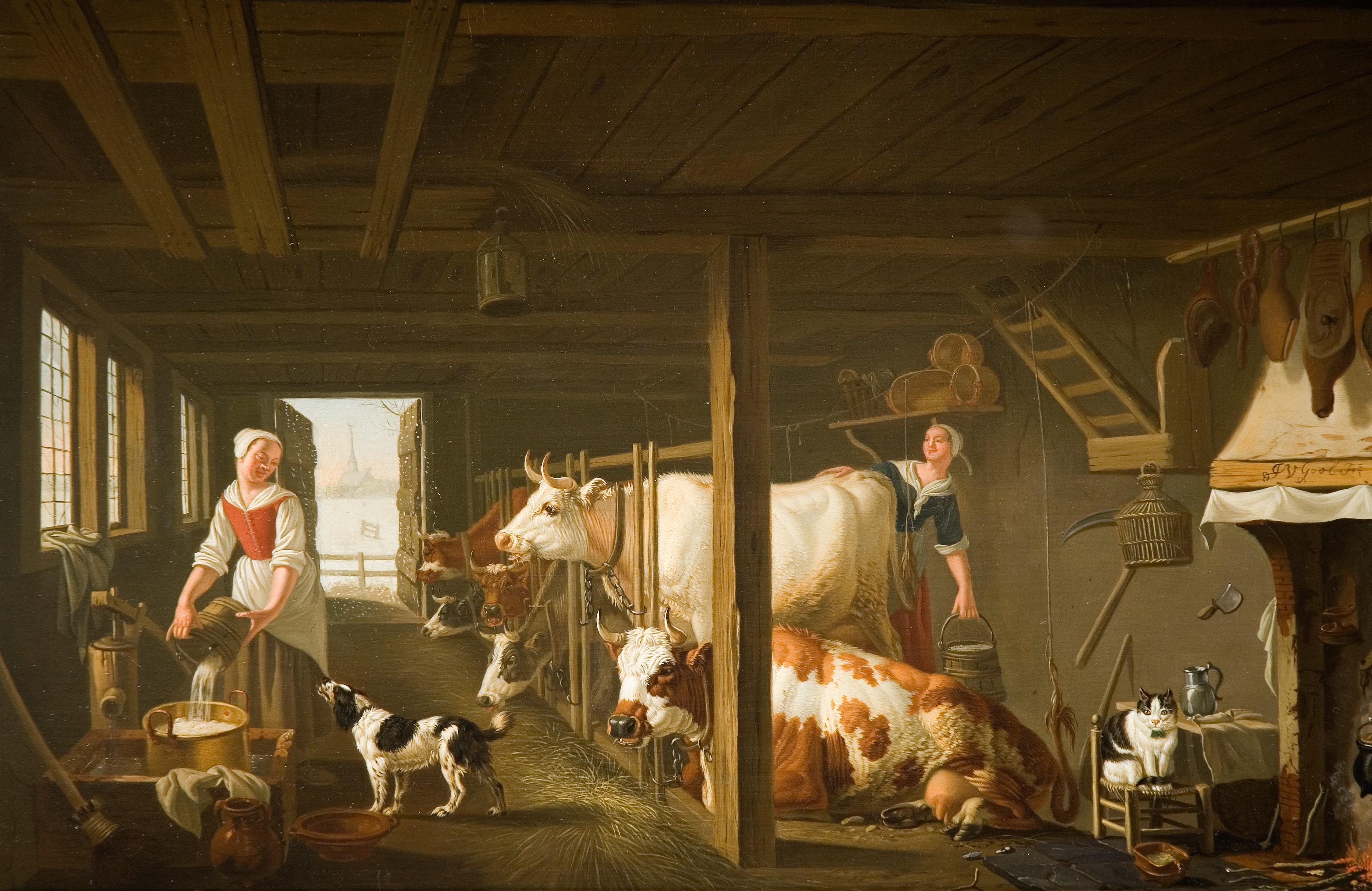 An oil painting of two women milking cows in a barn.