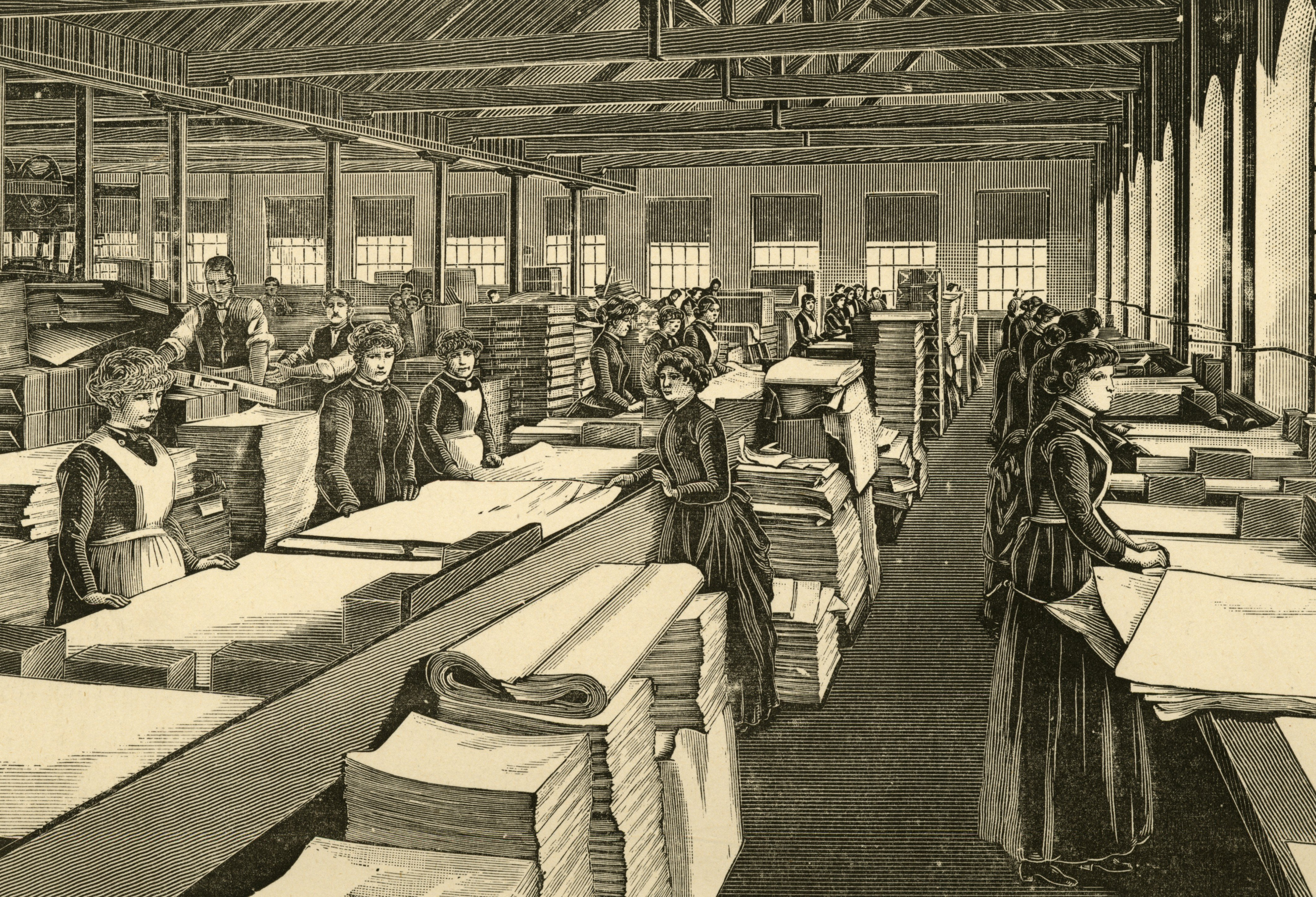 An image of an engraving showing the inspection of newly made paper before dispatch, Kent, England, 1887.
