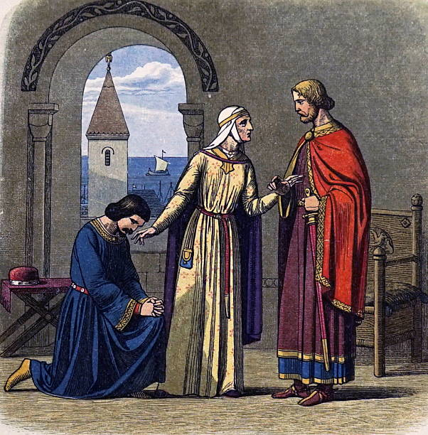 Eleanor of Aquitaine (1124-1204) reconciling her sons Richard I, Coeur de Lion, King of England 1189-1199, and his heir John, King of England 1199-1216.