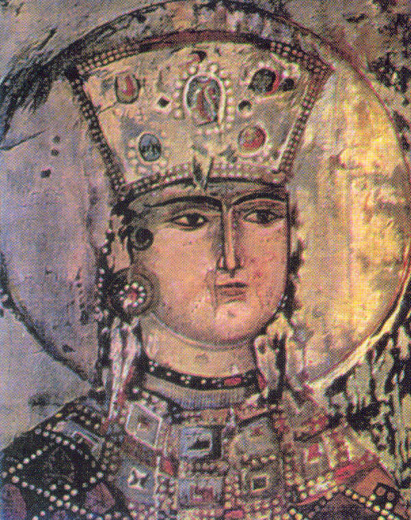 Queen Tamar of Geogria: part of the 12th-13th-century Vardzia Monastery mural