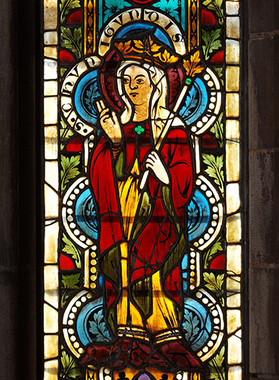 Stained glass panel depicting Saint Kunigunde, queen and wife of the Holy Roman Emperor Henry II