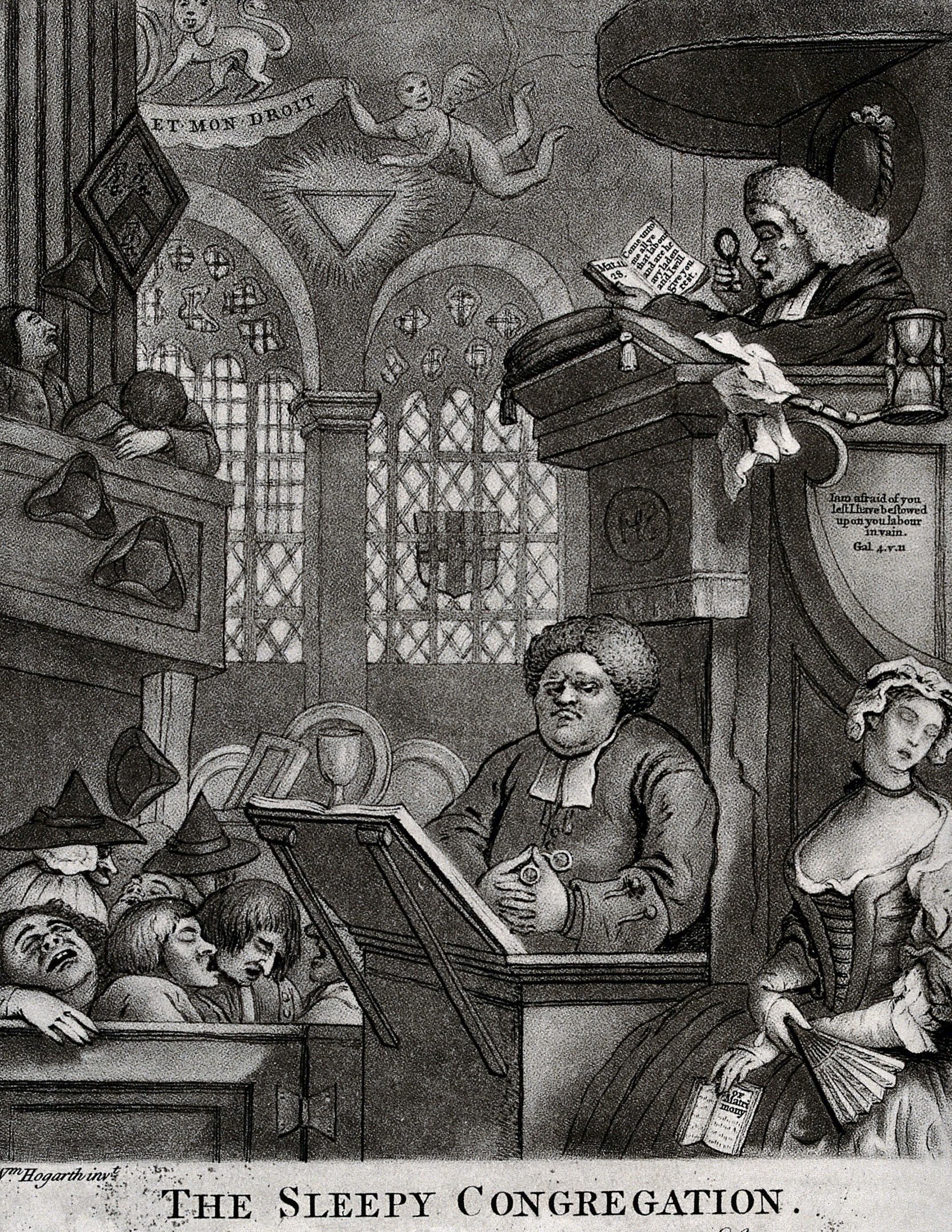 In this image a clergyman reads the sermon with the aid of a magnifying glass to a sleeping congregation while another clergyman ogles a sleeping woman.