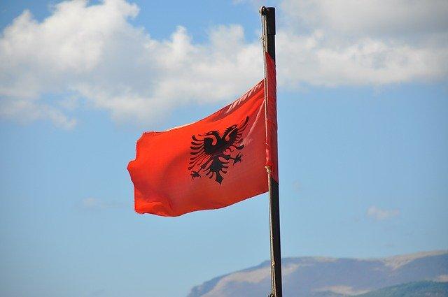 Albanian national flag Balkans.