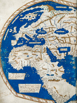A coloured map of the world, drawn on vellum on a plane scale, to illustrate the description of Pius II