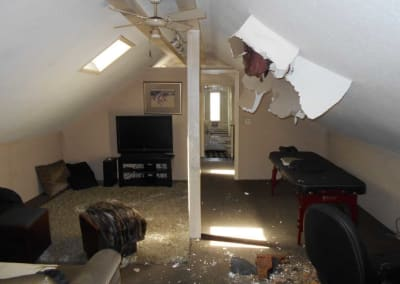 Upstairs bonus room after a fire damage