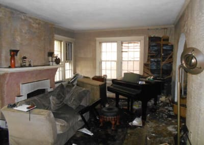 Living Room destroyed after a fire