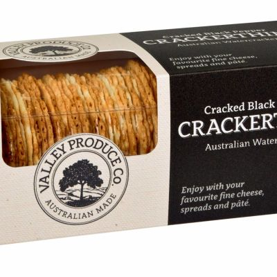 Valley Produce Crackerthins Cracked Black Pepper 100g