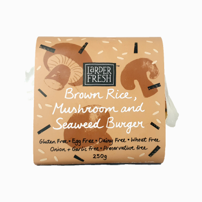 Larder Fresh Brown Rice, Mushroom and Seaweed Burger 250g (WA)