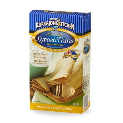 Kurrajong Kitchen Thins Caramelized Onion Sea Salt 125g