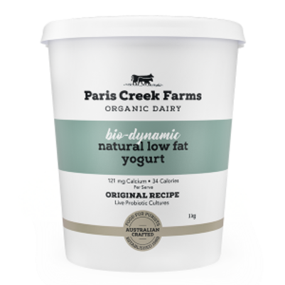 Paris Creek Farms Bio-Dynamic Natural Low Fat Yogurt 1kg (WA)