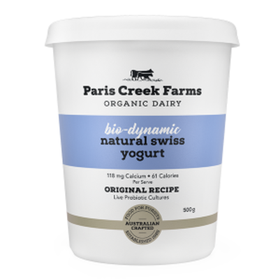 Paris Creek Farms Bio-Dynamic Natural Swiss Yogurt 500g (WA)