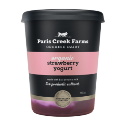 Paris Creek Farms Organic Strawberry Yogurt 500g (WA)