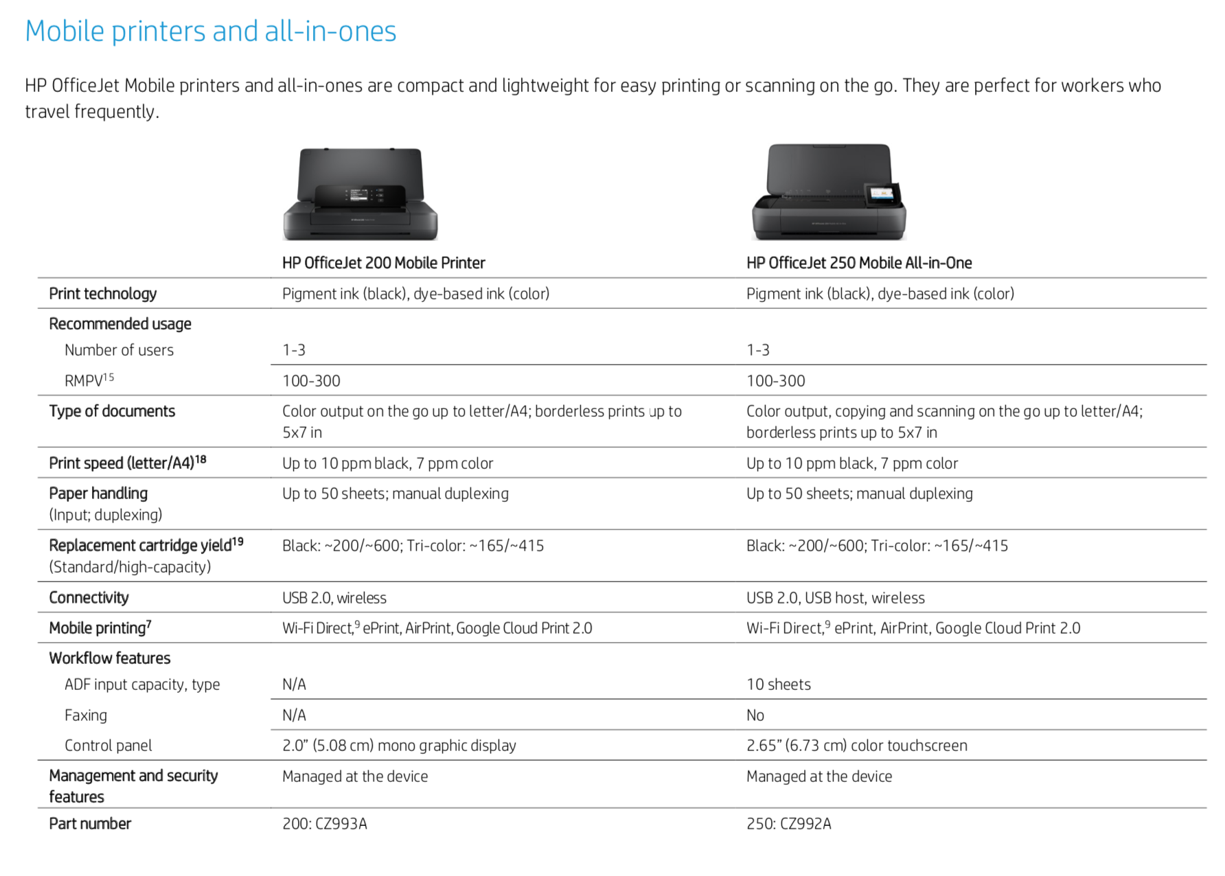 Mobil printers and all-in-ones