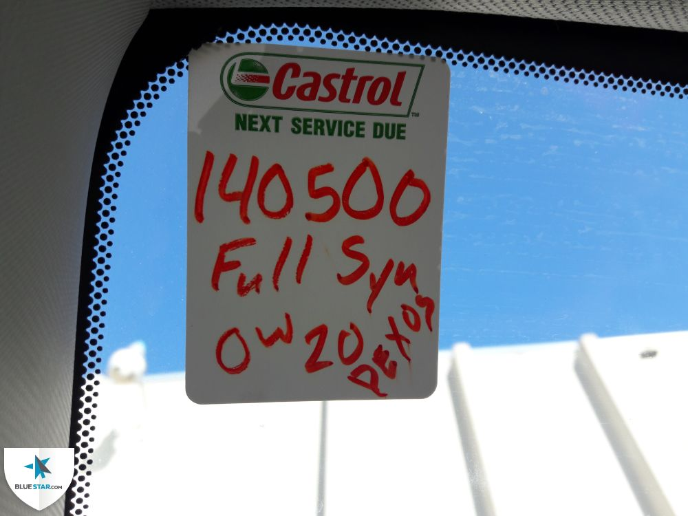 Engine oil change reminder is present with mileage still left before service is due.