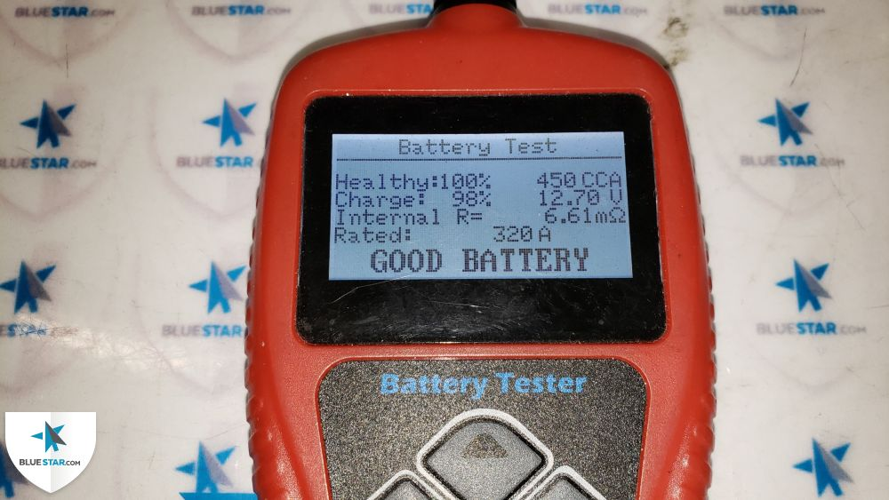 Battery passed the health test and terminals are free from corrosion.