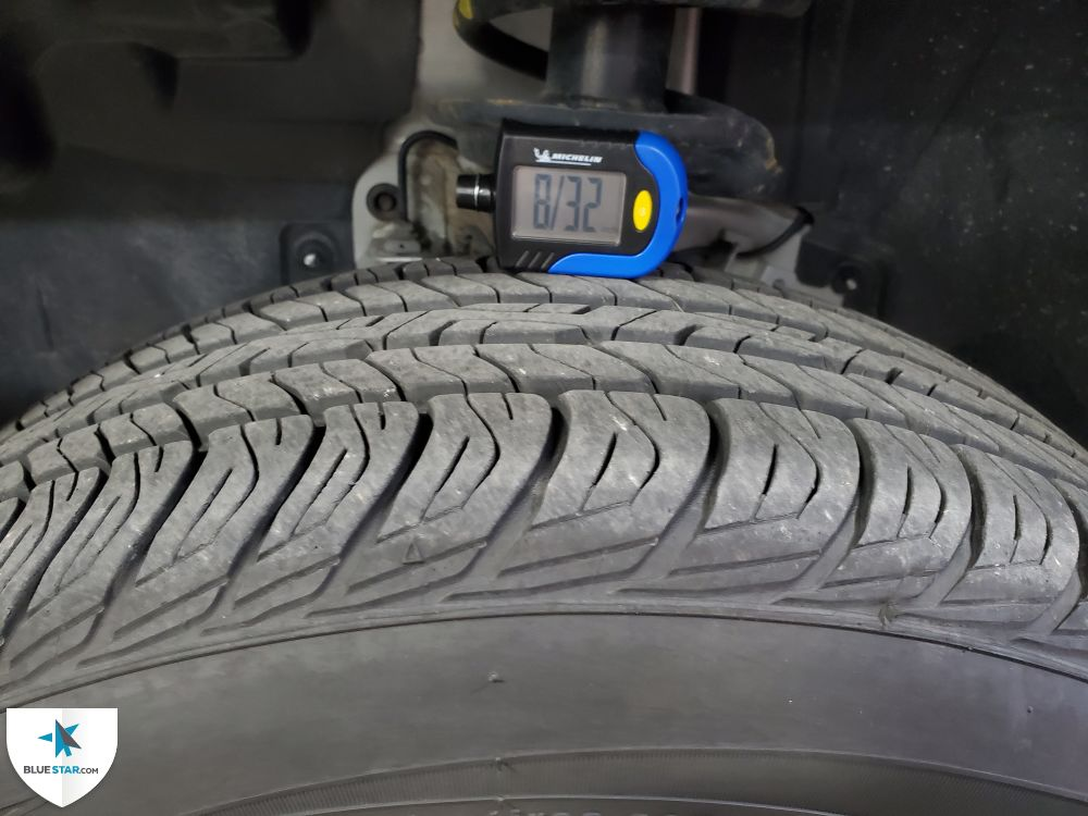 All tires are matching in brand and have at least 50% tread life.