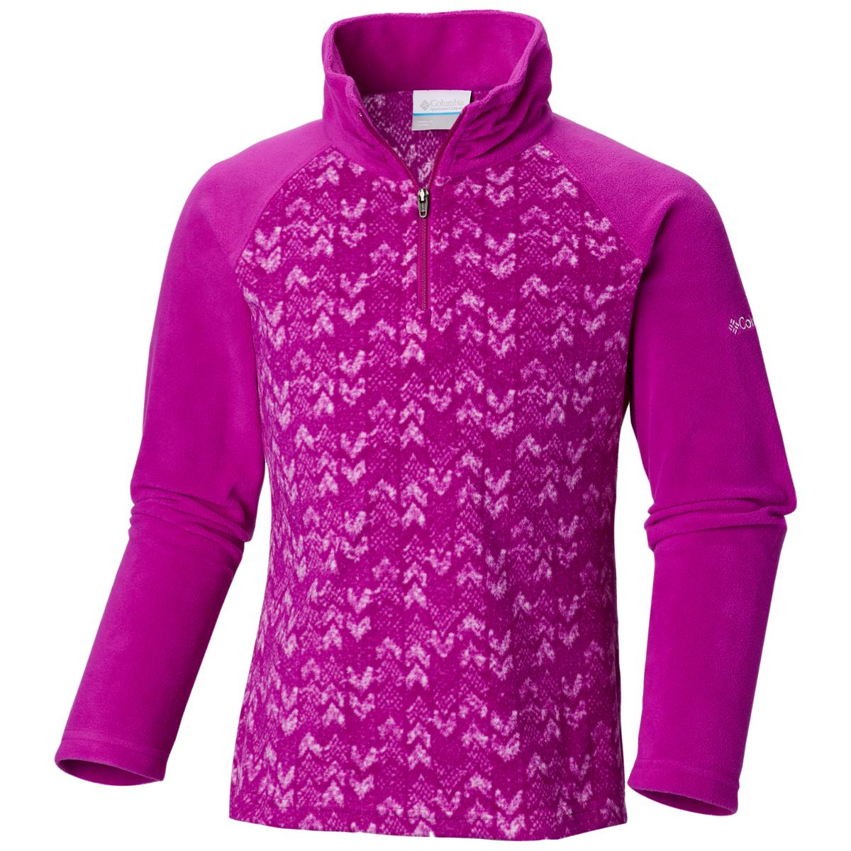 Columbia Girls' Glacial Ii Fleece Printed Half-Zip - Purple, L