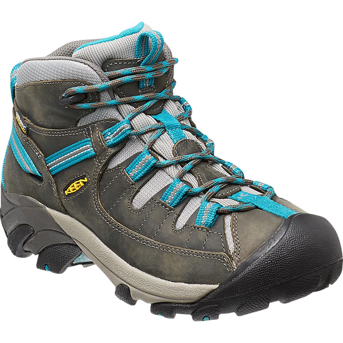 Keen Women's Targhee Ii Mid Waterproof Hiking Boots, Gargoyle/caribbean Sea - Black, 11