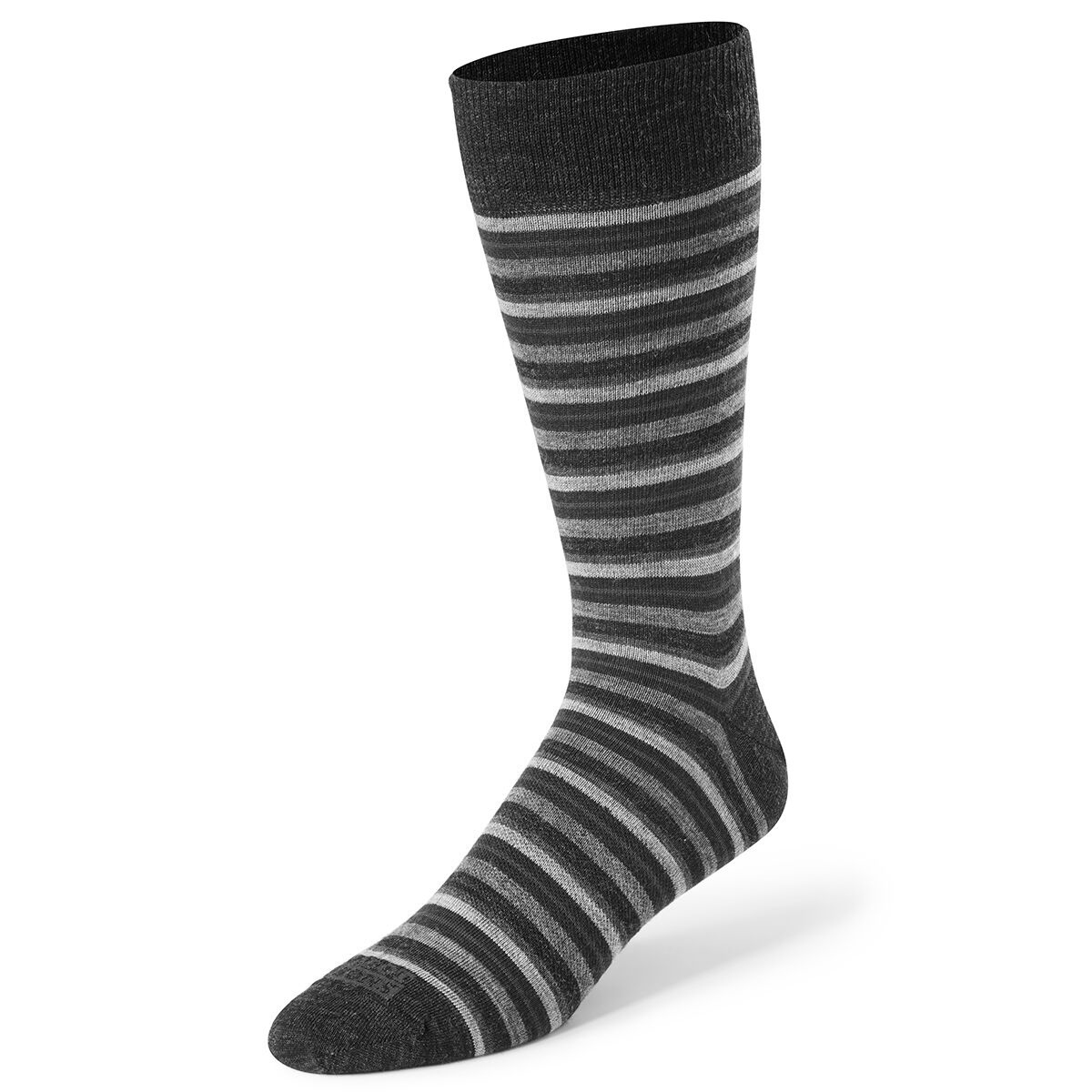Cabot Men's Multi Stripe Casual Crew Socks - Black, 10-13