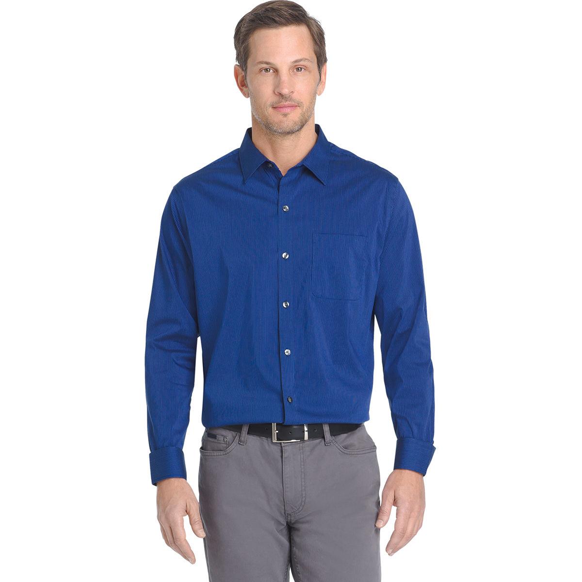 Van Heusen Men's Traveler Stripe Woven Long-Sleeve Shirt - Blue, L