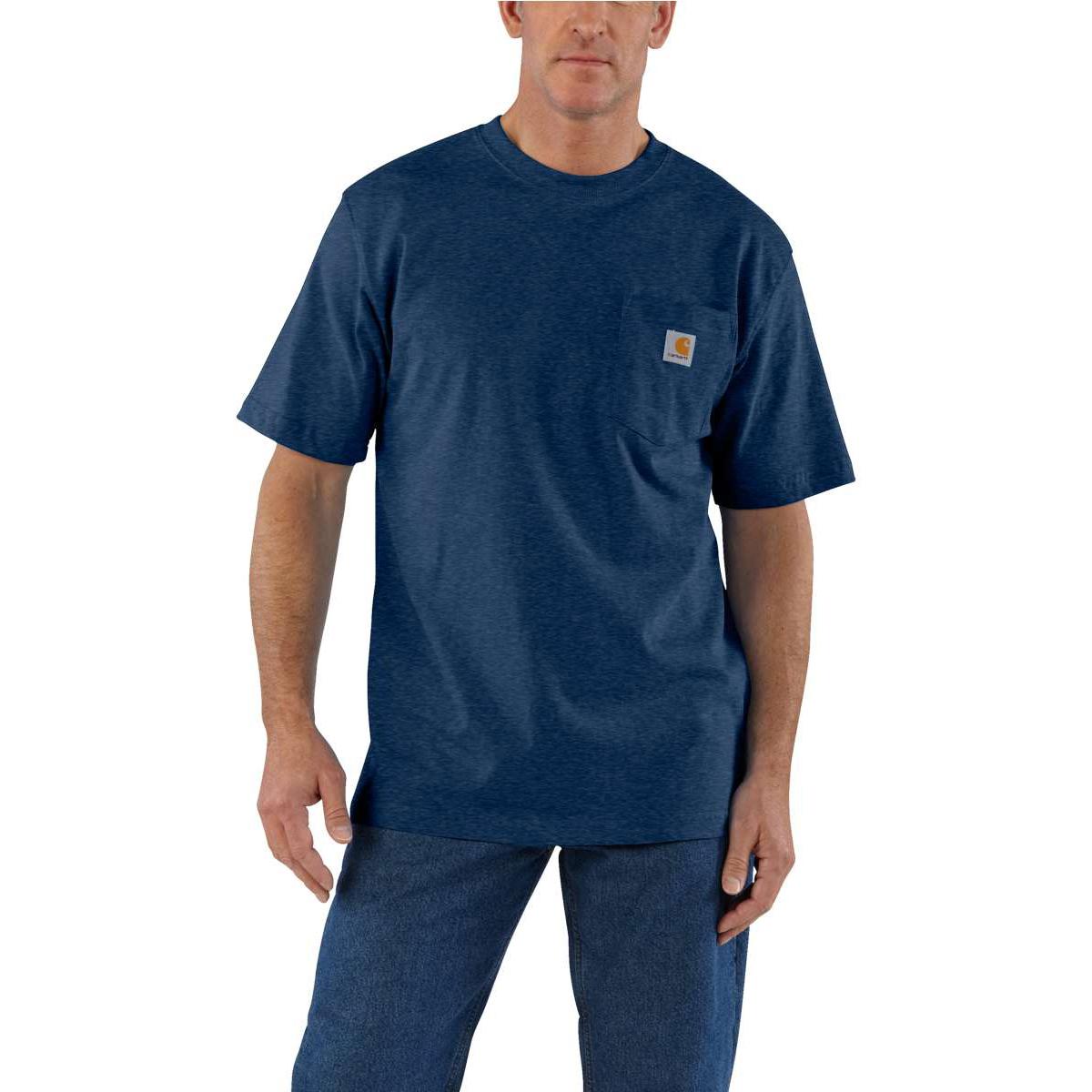 Carhartt Men's Workwear Pocket Short-Sleeve Shirt - Blue, S