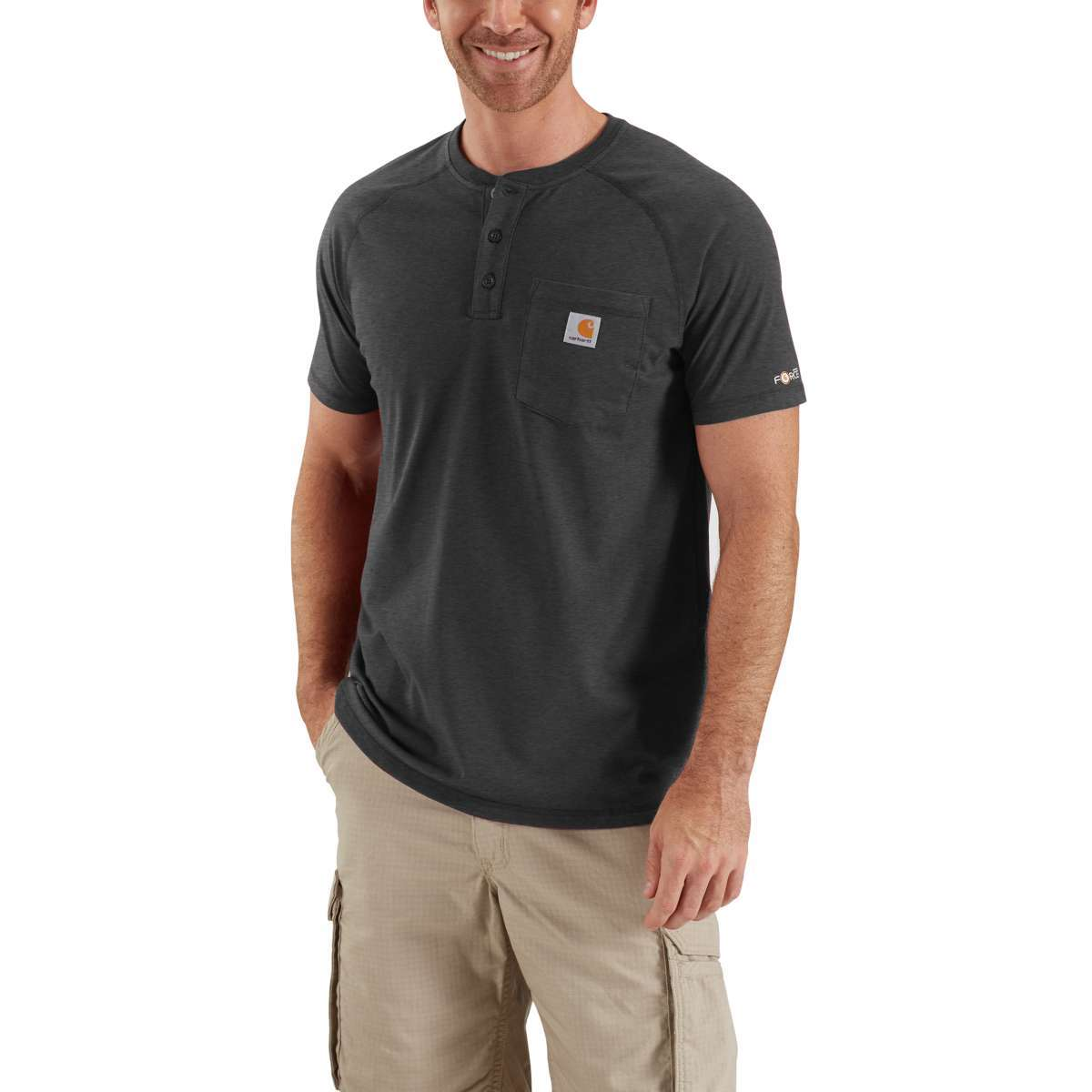 Carhartt Men's Force Henley - Black, L