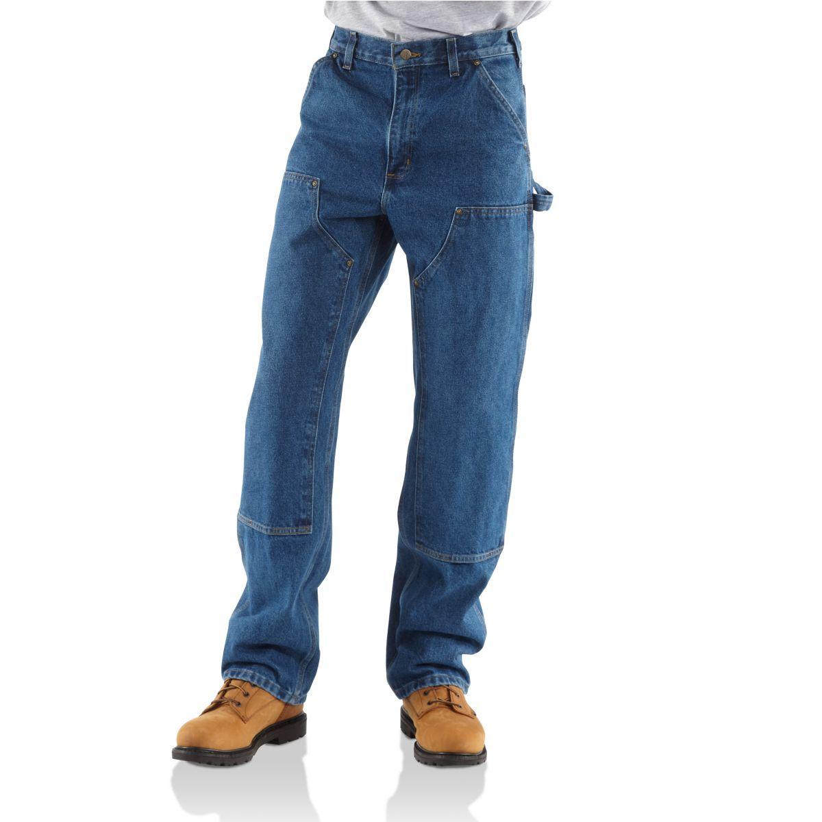 Carhartt Men's Double-Front Washed Logger Denim - Blue, 34/32