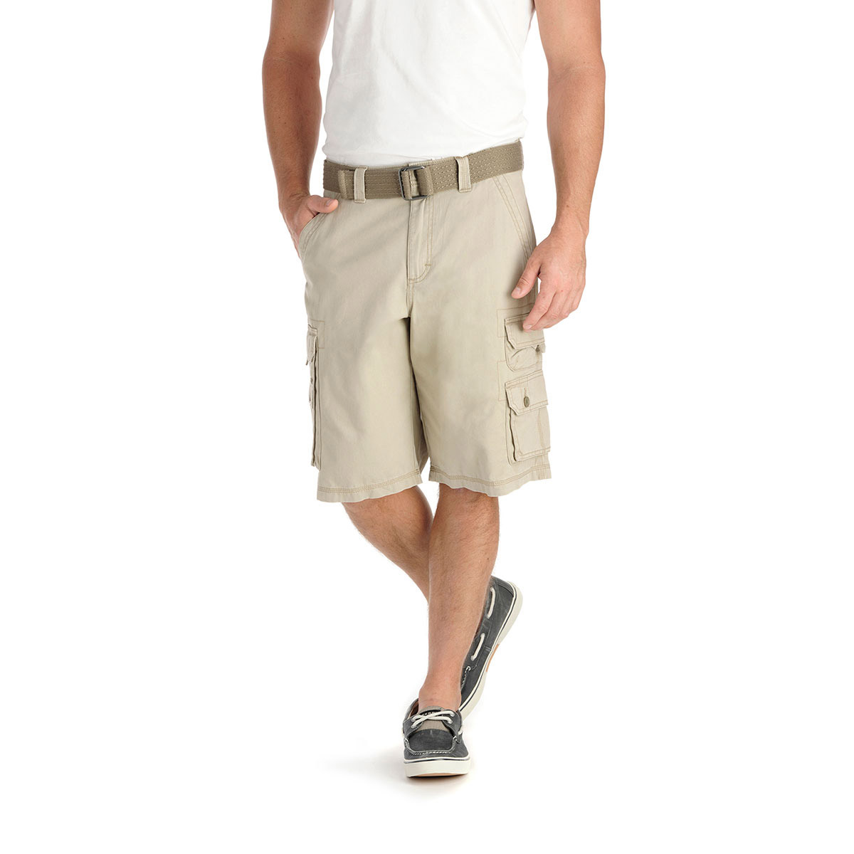 LEE Young Men's Flat Front Shorts - White, 30